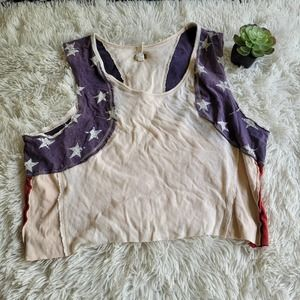 We The Free Cropped American Flag Tank Top Size M